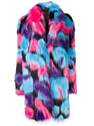 Frankie Morello Faux Fur Coat Pink And Purple