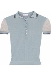 Red Valentino Point D'esprit Paneled Wool Silk And Cashmere Blend Polo Shirt Sky Blue