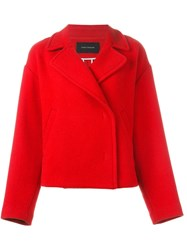 Cedric Charlier Double Breasted Peacoat Red
