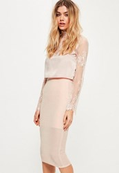 Missguided Nude Glitter Effect Textured Midi Skirt