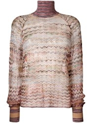 Missoni Sheer Turtleneck Sweater Nude And Neutrals
