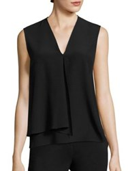 Etro Sleeveless Silk V Neck Blouse Black