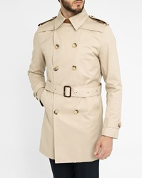 Sandro Beige Trench Coat With Removable Magnetic Leather Tab