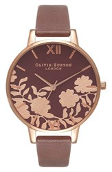 Olivia Burton Women's Lace Detail Leather Strap Watch 38Mm