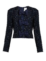 Ashish Sequin Embellished Front Bow Silk Top Navy