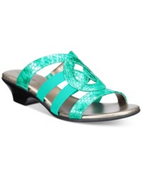 Karen Scott Emmee Slide Sandals Only At Macy's Women's Shoes Turquoise