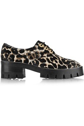 Sandro Alec Leopard Print Calf Hair Ankle Boots Animal Print
