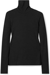 Madewell Garbanzo Ribbed Stretch Knit Turtleneck Top Black