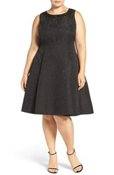London Times Plus Size Women's Embellished Floral Fit And Flare Dress Black