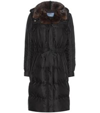 Prada Down Coat With Fur Collar Black