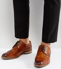 Asos Wide Fit Brogue Shoes In Tan Polished Leather Tan