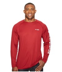 Columbia Terminal Tackle L S Shirt Extended Beet White Logo Men's Long Sleeve Pullover Red