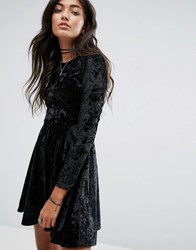 Daisy Street Crushed Velvet Skater Dress Black