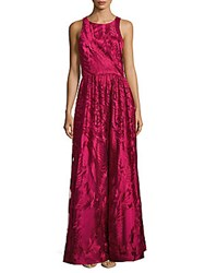 David Meister Sleeveless Embroidered Gown Rose