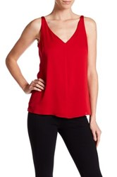 Milly V Neck Silk Tank Red