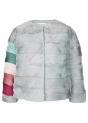 Red Valentino Grey Rainbow Striped Fur Jacket