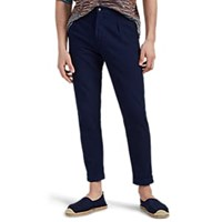 Marco Pescarolo Chiaia Washed Cotton Pleated Drawstring Trousers Navy