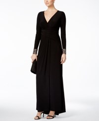 Vince Camuto Long Sleeve Embellished Faux Wrap Gown Black