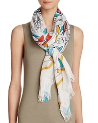 Fraas Sketched Tribal Print Scarf Turquoise Multi