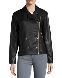 Michael Michael Kors Double Breasted Faux Leather Moto Jacket Black