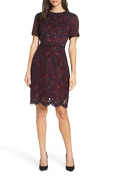 Charles Henry Lace Sheath Dress Navy Wine Lace