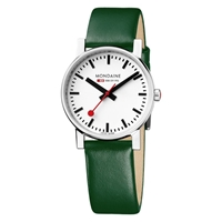 Mondaine A658.30300.11Sbd Unisex Exclusive Leather Strap Watch Green