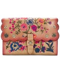 Patricia Nash Prairie Rose Embroidered Colli Wallet Sand