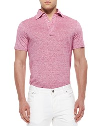 Isaia Fine Striped Polo Shirt Pink