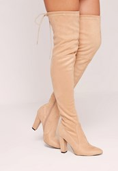 Missguided Over The Knee Heeled Boots Nude Beige
