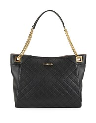 Calvin Klein Diamond Quilted Leather Tote Black Gold