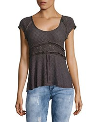 Free People Besties Lace Button Front Top Black