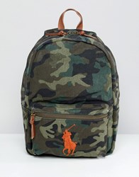 Polo Ralph Lauren Large Multi Player Logo Embroidery Canvas Backpack In Green Camo Print