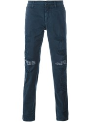 Off White Distressed Slim Fit Trousers Blue