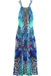 Camilla Embellished Printed Silk Crepe De Chine Maxi Dress Blue