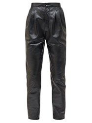 Saint Laurent High Rise Tapered Grained Leather Trousers Black
