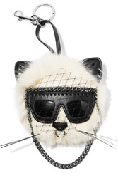 Stella Mccartney Falabella Appliqued Faux Fur Keychain White