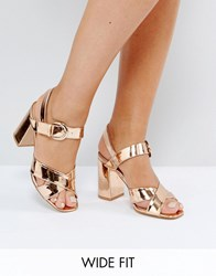 Truffle Collection Wide Fit Block Heel Sandal Rose Gold Hishine Copper