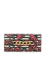 Charlotte Olympia Rose Print Leather Wallet Brown