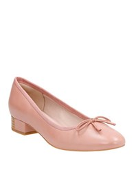 Clarks Eliberry Isla Stacked Heel Leather Pumps Dusty Pink