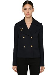 Valentino Double Breasted Wool Pea Coat Navy