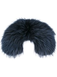 Mr And Mrs Italy Fur Collar Scarf Blue