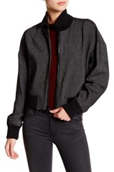 Dkny Mock Neck Linen Bomber Jacket Black