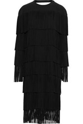 Tom Ford Woman Tiered Open Back Fringed Ponte Midi Dress Black