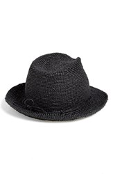 Women's Helen Kaminski Raffia Crochet Packable Sun Hat Grey Charcoal
