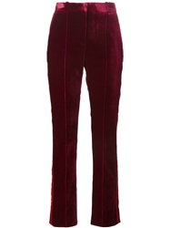 Givenchy High Waisted Velvet Trousers Red