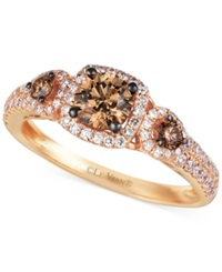 Le Vian Chocolate And White Diamond Three Stone Ring In 14K Rose Gold 1 Ct. T.W.