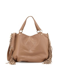 Deux Lux Faux Leather Fringe East West Tote Bag Camel