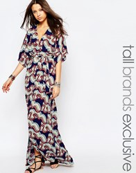 Glamorous Tall Wrapover Maxi Dress With Kimono Sleeve In Large Floral Multi