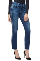 Good American 'S Straight Athletic Stripe High Waist Straight Leg Jeans Blue122