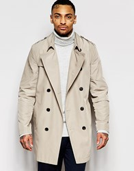 Asos Shower Resistant Trench Coat In Stone Stone